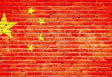 Chinesische Flagge als Graffitti auf einer Mauer, Internetzensur in China, Zensur in China