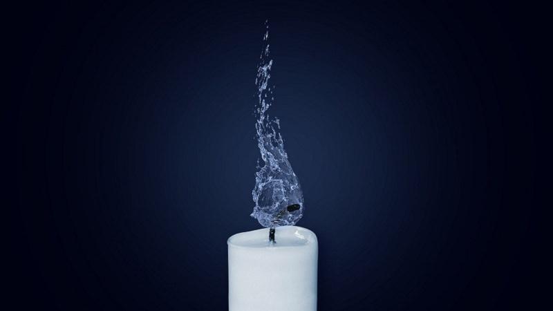Kerze, Flamme, Wasser, erloschen, Menschen