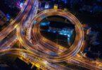 Autobahn Nacht Sicht von oben