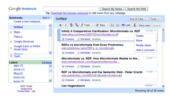 Google Notebook Screenshot