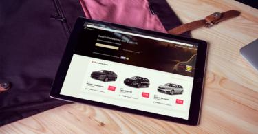 Vehiculum Webseite auf Tablet