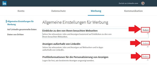LinkedIn-Tracking deaktivieren, Linkedin Tracking, Ad Tracking bei LinkedIn deaktivieren, Linkedin Werbung deaktivieren