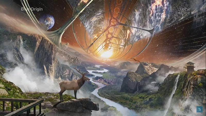 Naturschutzgebiet im Weltraum Konzept Blue Origin
