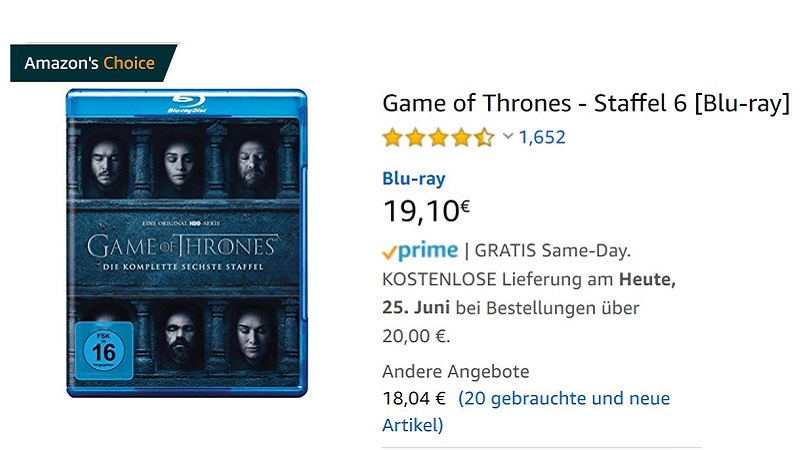 Amazon, GoT, Game of Thrones, DVD, Amazons Choice, Amazon Choice, Amazon's Choice