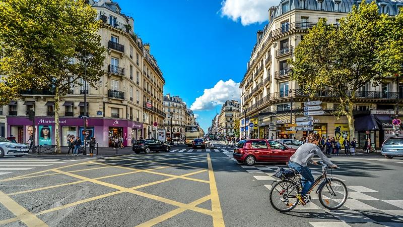 Fahrrad, Auto, Stadtverkehr, Paris