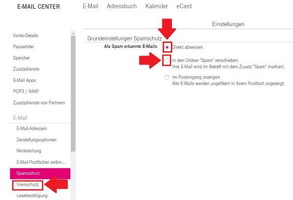 T-Online Spamfilter Einstellen
