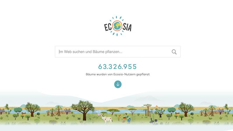 Ecosia, Suchmaschinen, Internet