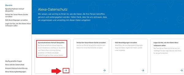 Alexa-Gespräche löschen, Alexa-Aufzeichnungen löschen, Alexa-Verlauf löschen, Amazon