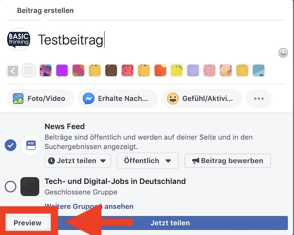 Facebook, Beitrag, Vorschau, Social Media