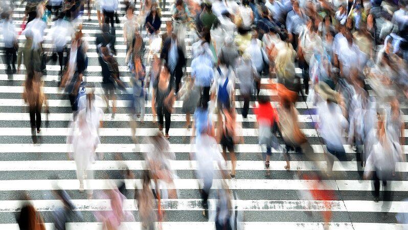 Fußgänger, Innenstadt, Menschen, Zebrastreifen, urban