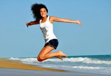 Freudensprung, Sprung, springen, Strand, Meer, Urlaub, Sommer, Arbeitnehmer