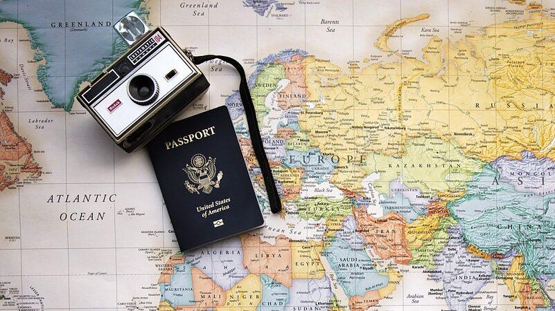 Weltkarte, Kamera, Pass, reisen