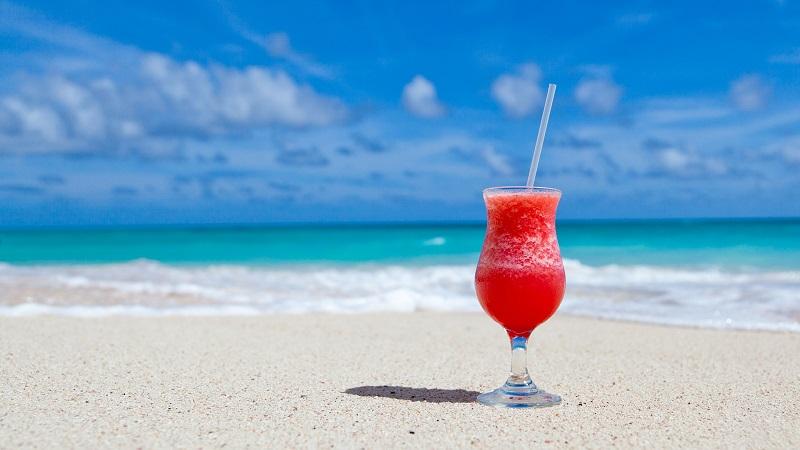 Strand, Cocktail, Meer, Karibik