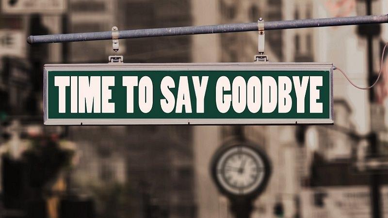 Time to say goodbye, Abschied, Schild, Auf Wiedersehen, Kündigung, Job kündigen