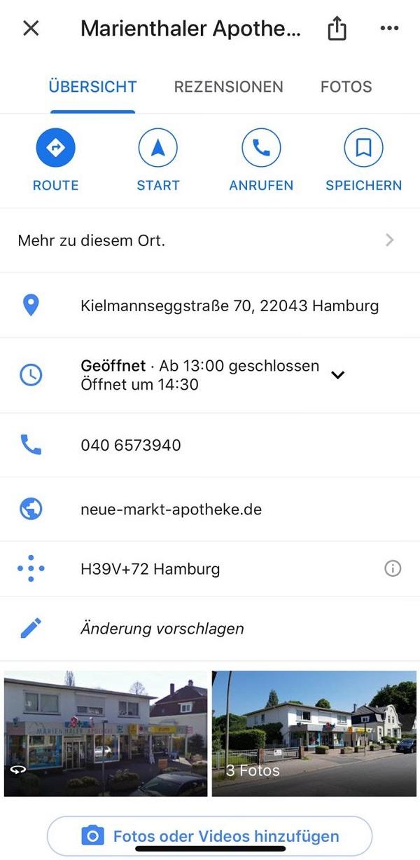 Google, Google-Suche, NAP-Daten, Marienthaler Apotheke