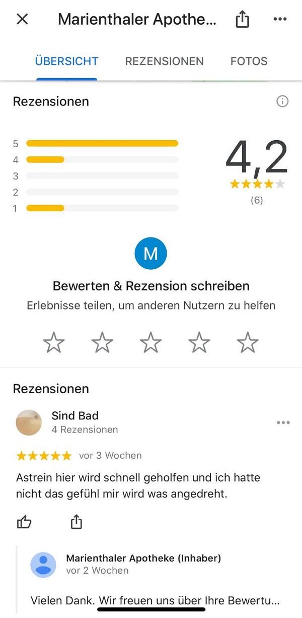 Google, Google-Rezension, Google-Rezensionen, Marienthaler Apotheke