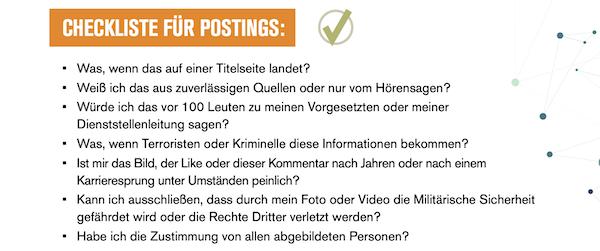 Bundeswehr, Social Media Guidelines, Checkliste