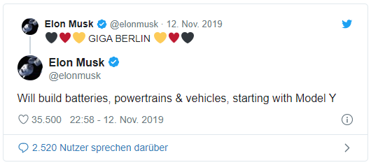 Elon Musk Twitter, Gigafactory Brandenburg