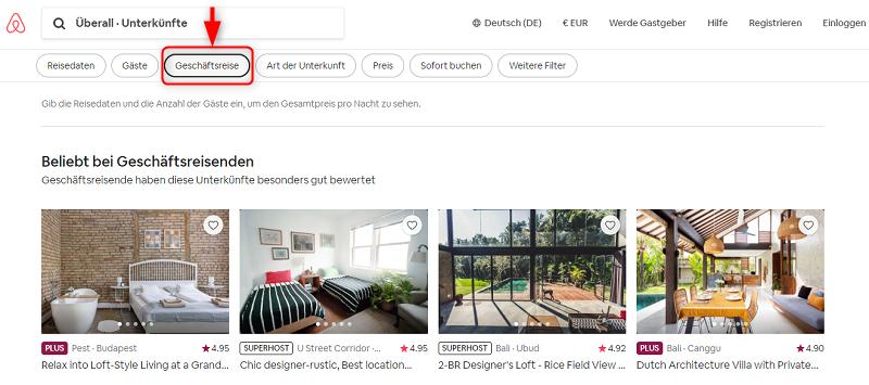 Airbnb for Work, Geschäftsreisen