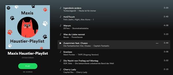Spotify Haustier-Playlist, Spotify Pet Playlist, Haustier-Playlists