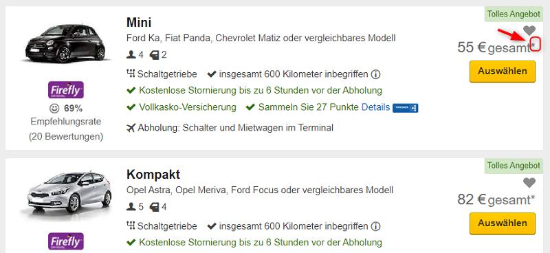 Expedia, Mietwagen