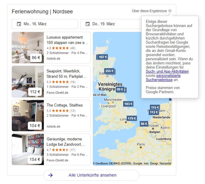 Google, Suchmaschine, Ferienwohnungen