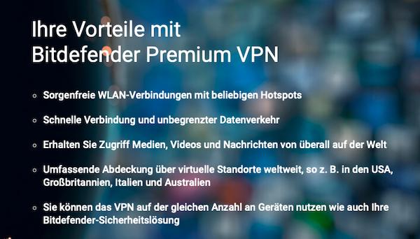 Bitdefender Premium VPN Vorteile
