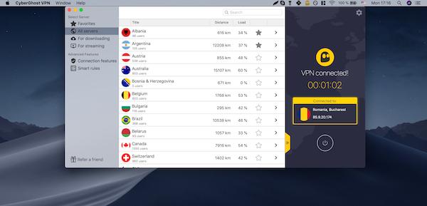 Cyber Ghost VPN Länderauswahl