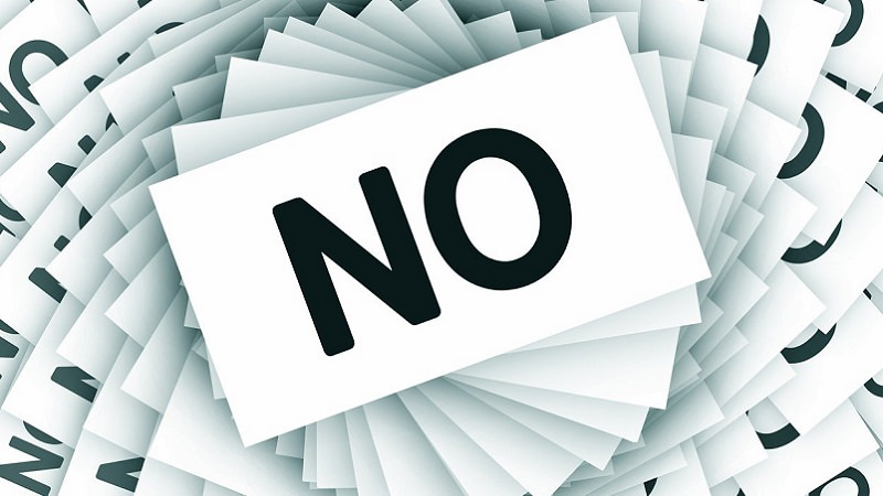 Nein, No, Absage, Ablehnung