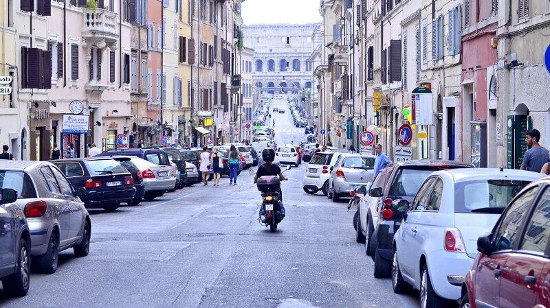 Rom, Straße, Verkehr, Vespa, Motorrad, Autos