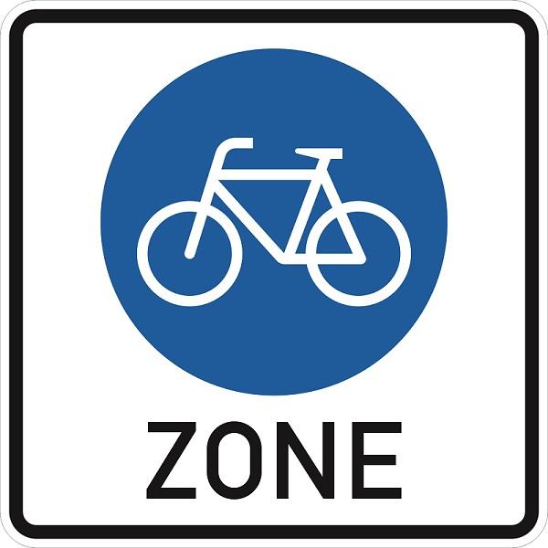 Fahrradzone, Straßenschild, Verkehrsschild, Fahrrad