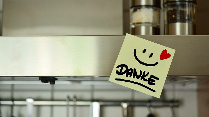 Danke, Zettel, Küche, Smiley