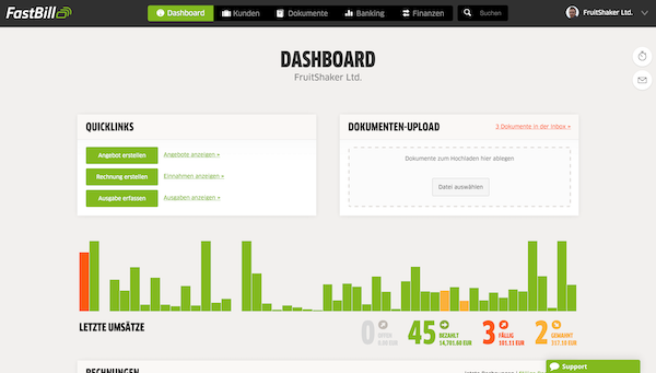 Dashboard FastBill