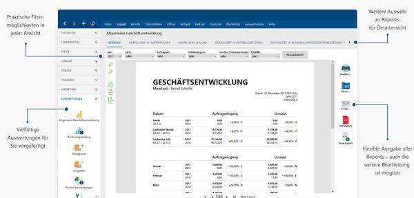 Dashboard WISO MeinBüro Buchhaltungssoftware