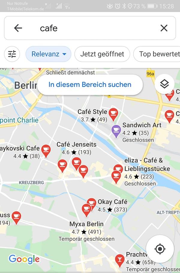 Google Maps Suche, Karte, Café, Berlin