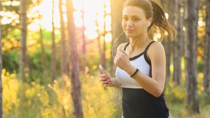 Frau, joggen, laufen, Sport, Wald, Bewegung, Übung