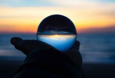 Glaskugel, Strand, Sonnenuntergang, Zukunft, Prognosen