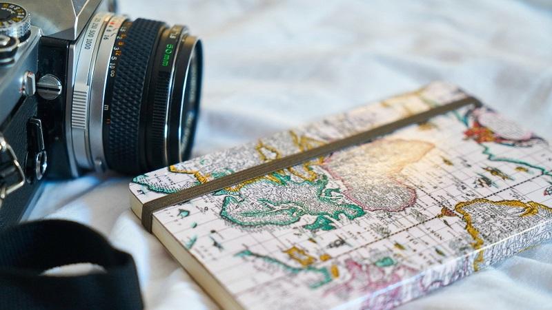 Kamera, Notizbuch, reisen, Urlaub