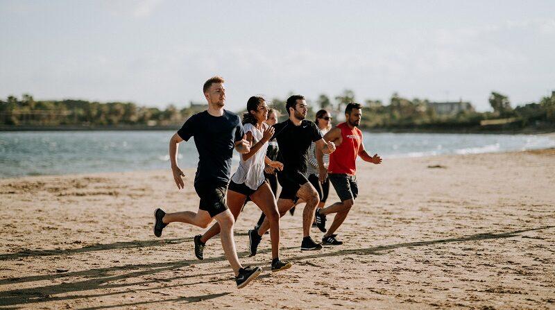 Strand, Jugend, laufen, joggen, Meer, Sport, Gesundheit
