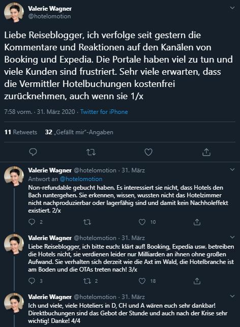 Twitter, Valerie Wagner, kostenlose Stornos, Hotels, Erstattungen