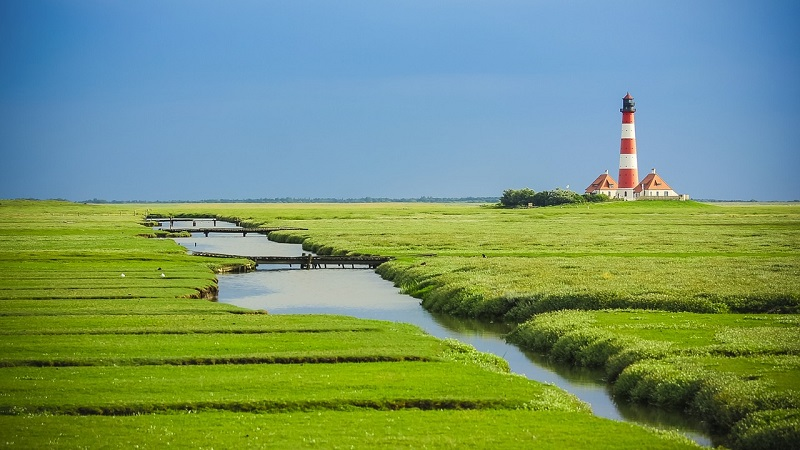 Westerhever Leuchtturm, Nordsee, Meer