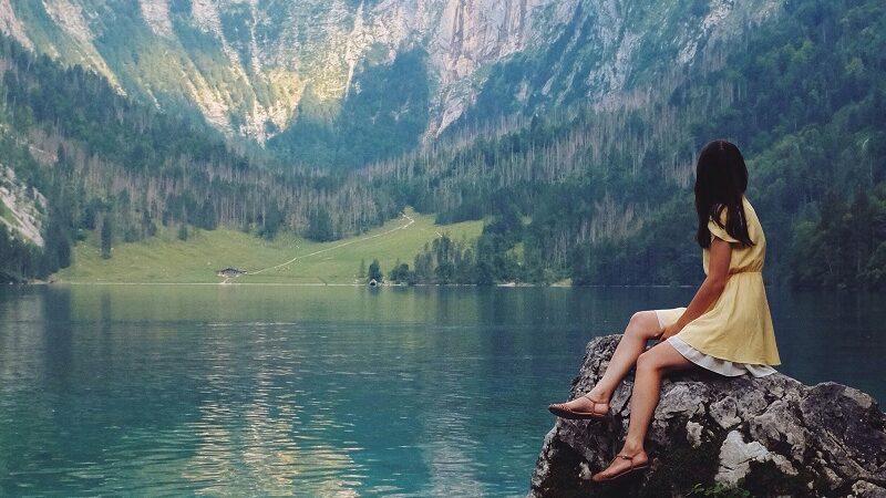 Berge, See, Natur, Frau, Urlaub, Landschaft