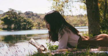 Frau, Natur, Buch, Wasser, lesen