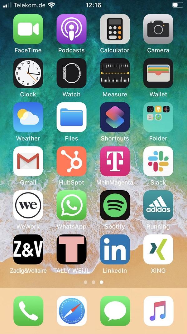 Homescreen, iPhone, Apple, Apps. Smartphone, Sabrina Janßen