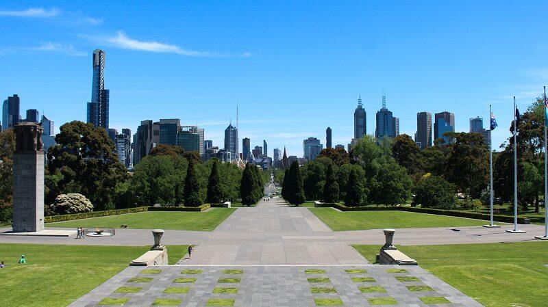 Melbourne Australien, Park, Skyline, Stadt