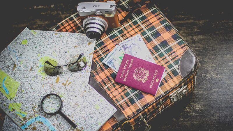Reisen, Pass, Reisepass, Koffer, Karte