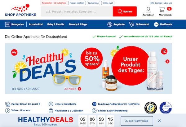 Shop-Apotheke Startseite Online-Apotheke