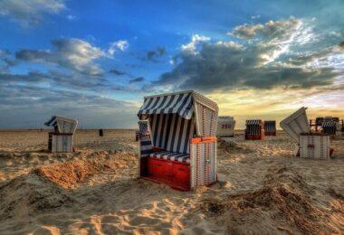 Strandkorb, Strandkörbe, Nordsee, Meer, Urlaub