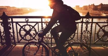 Fahrrad, Fahrradfahrer, Brücke