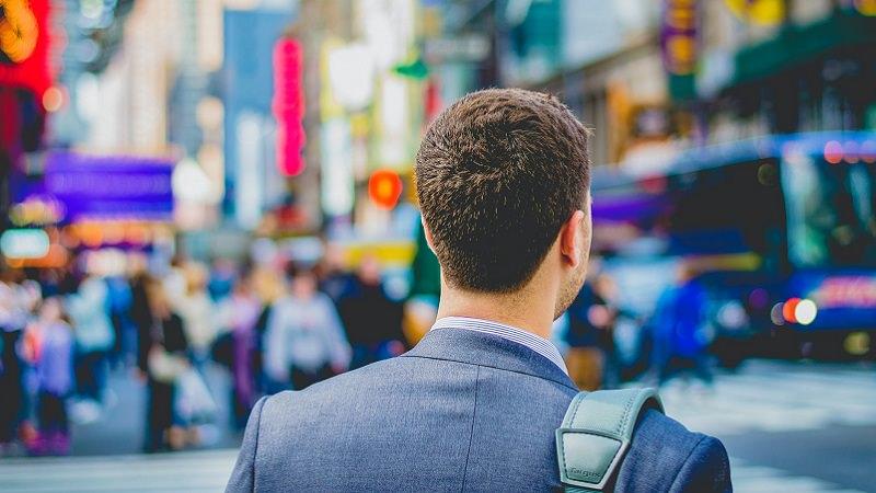 Geschäftsmann, Zukunft, Perspektive, erfolgreicher Job-Wechsel